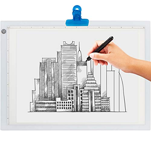 LED Light Box for Tracing - New 2021 Model - Ultra Thin Light Pad with Adjustable Brightness. Comes with USB Cable, Adapter, Tracing Paper, and Clip. Portable Light Board for Sketching
