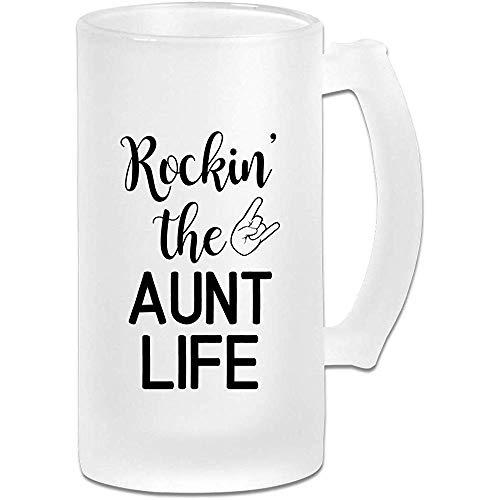 Rockin die Tante Life personalisierte Custom Pub Becher mit Griffen Getränke Saft Glas 16,9 Unzen Milchglas Bierkrug Tasse