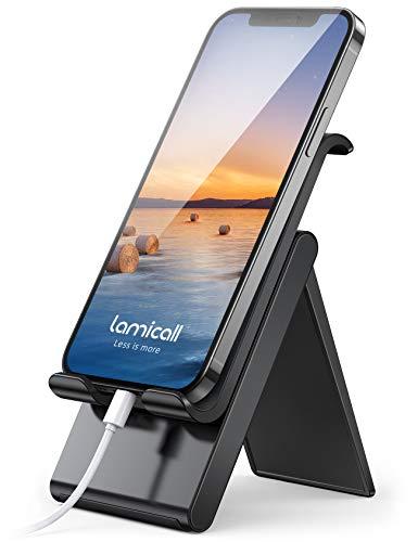 Lamicall Handy Ständer, Handy Halterung Verstellbare - Handyhalterung, Halter für iPhone 12 Mini, 12 Pro Max, 11 Pro, Xs Max, XR, X, 8, 7, 6 Plus, SE, Samsung S10 S9 S8, Huawei, Smartphone - Schwarz