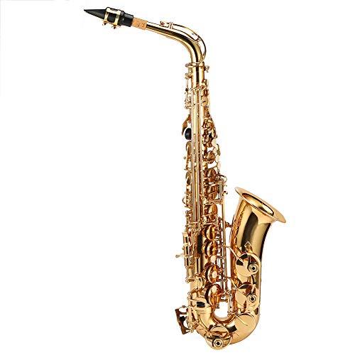 CUEA Sassofono Contralto, Sassofono Oro Tipo 802 Tasti per Principianti, Campana intagliata a Mano in Mi bemolle Regolabile in Altezza Chiave Strumento Musicale a fiato, per Bambini Adulti