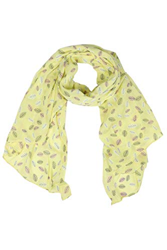 Zwillingsherz Seiden-Tuch Damen mit Blätter Muster - Made in Italy - Eleganter Sommer-Schal für Frauen - Hochwertiges Seidentuch/Seidenschal - Halstuch und Chiffon-Stola Dezent Stilvoll gelb