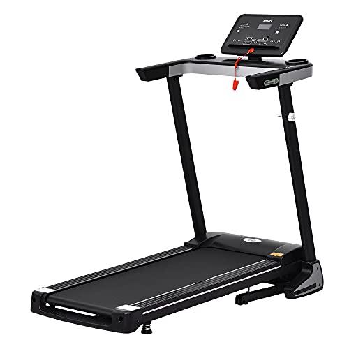HOMCOM 500W Motorised Treadmill 1-12km/h Folding Frame w/Wheels Preset Programs LED Screen Running Machine Safety Button Home Gym Office Fitness Exercise