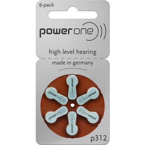 Hearing Aid Battery Powerone Size 312 No Mercury, 60 Batterien by Power One
