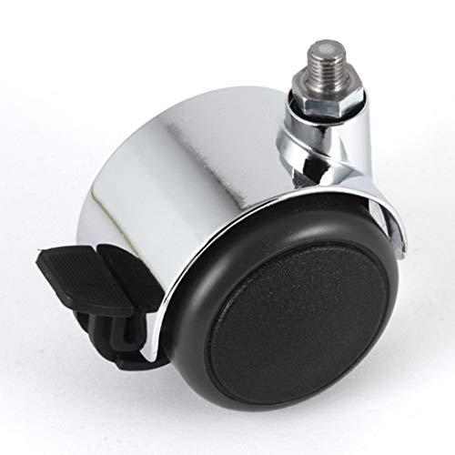 Möbelrolle gebremst Chrom 50 mm Gewindestift M8 passend für USM Haller Möbel mit PU-Bereifung grau spurlos für harte Böden Hartbodenrolle mit Bremse Radfeststeller