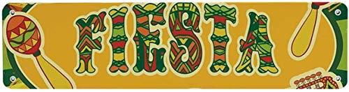 HNNT Fiesta Individuele Tin Sign, Kleurrijke Latino Elementen Sombrero Maracas Gitaar Geometrische Achtergrond Decoratief voor Bars 40x10 cm Kennisbord voor Indoor Outdoor Yard Street Tekenen