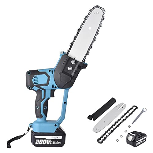 Mini Chainsaw Cordless 8' One-Hand Handheld Electric Portable Chainsaw 21V Rechargeable 15000mAH Battery Operated for Tree Trimming and Branch Wood Cutting