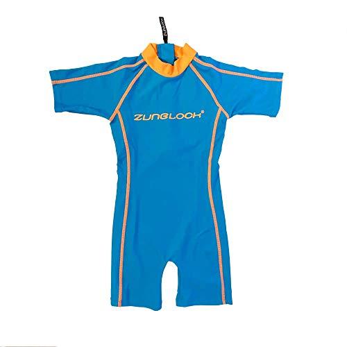 Zunblock Kurzärmliger Badeanzug mit UV-Schutz UPF 50+ 0 bis 10 Jahre (Blau-orange, 74/80)