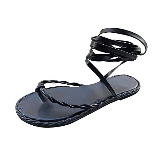Beudylihy Sandalias para mujer, planas, con lazo, para verano, tiempo libre, color Negro, talla 40 EU