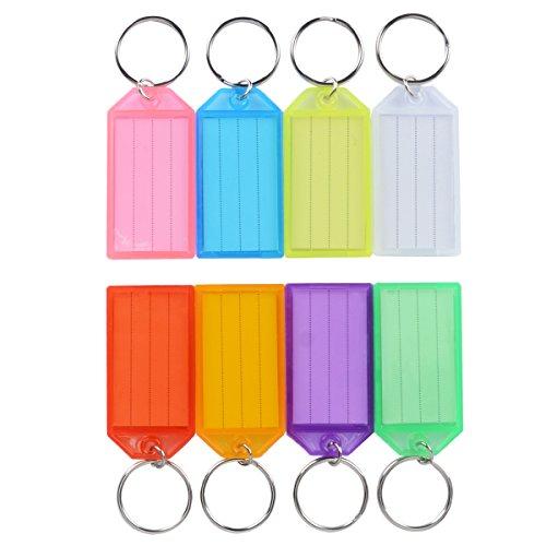 Uniclife Confezione da 20 Chiavi in Plastica Resistente con Finestrella per Anello Diviso, Colori Assortiti
