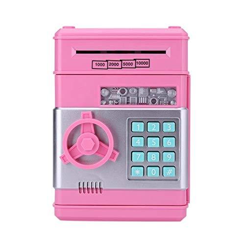 Cajero automático con contraseña, hucha electrónica, caja de ahorro de monedas en efectivo, banco cajero automático, caja fuerte para regalo de niños (rosa)