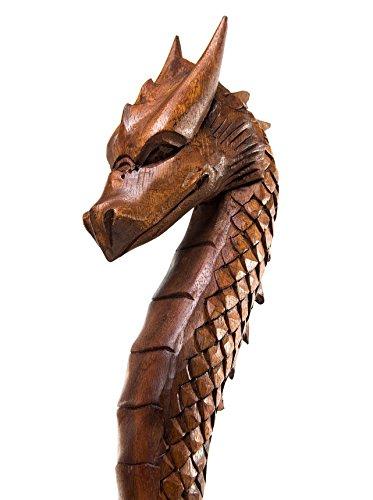 Windalf Randonnée Tige Dragon FAFNIR H : 170 cm Main sculpté en Bois