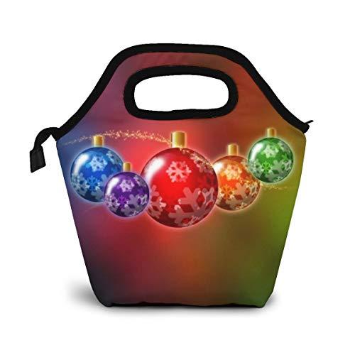 NiWCGP Weihnachtsfarbige Kugeln Lunch Tasche Wasserdicht Leichte Picknicktasche Mittagessen Isoliertasche Thermotasche Auslaufsichere zur Arbeit und Schule gehen