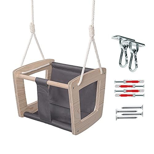MAMOI Babyschaukel Schaukel Baby Holzschaukel Indoor Designer Kinderschaukel Schaukelsitz Babysitz Holz ECO bis 30kg! | Made in EU ECO | CE-Zertifikat