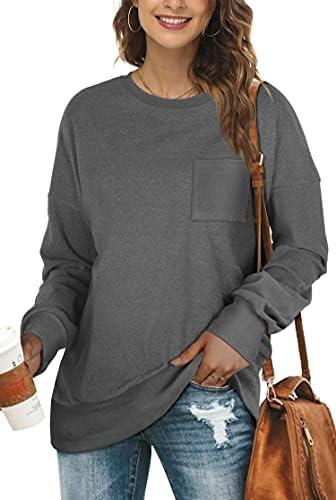 OFEEFAN Sweatshirts for Women Crewneck Long Sleeve Shirts Fall Tunic Tops for Leggings