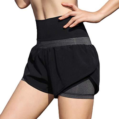 Pantalones Cortos Deportivos para Mujer Ropa Deportiva de Cintura Alta Delgado Delgado Fitness Cómodo Elástico Yoga Gimnasio con Forro L