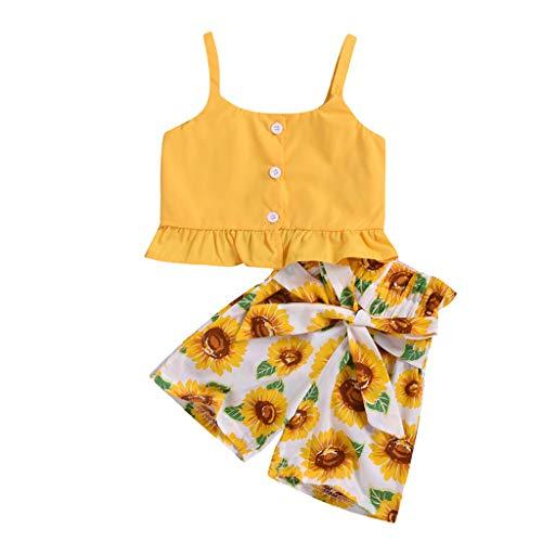 Julhold Peuter Baby Meisjes Mode Leuke Mouwloze Ruches Effen Vest Casual Tops+Zonnebloem Shorts Outfits 0-3 Jaar