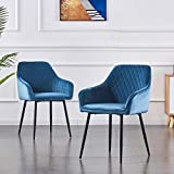 AINPECCA Set of 2 Dining Chairs Teal Velvet Armchairs with Armrest & Backrest Upholstered seat with Black Metal legs (Teal Velvet, 2)