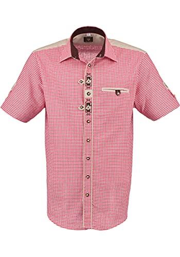 OS Trachten Herren Hemd Trachtenhemd Kurzarm mit Liegekragen Gajesa, Größe:39/40, Farbe:mittelrot
