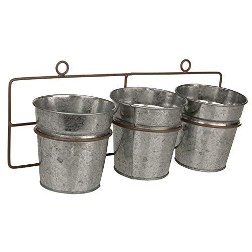 Macosa NO55806 Lot de 3 pots de fleurs en zinc à suspendre Style maison de campagne