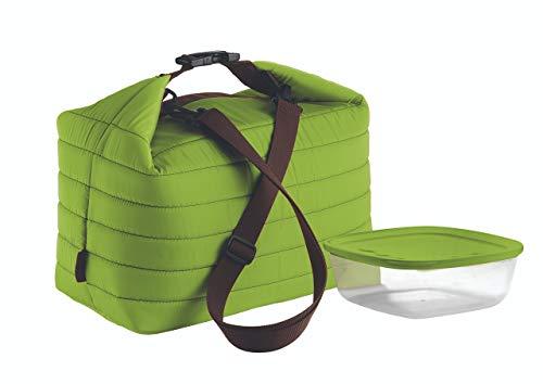 Guzzini Borsa Termica Grande con Tracolla On The Go, Verde Mela, Borsa 30 x 18 x h30 cm, Contenitore 19.6 x 19.6 x h7 cm, 1400 cc