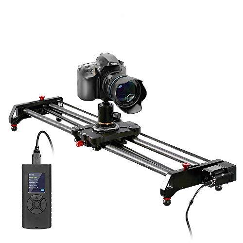 GVM 80cm Kamera Slider Fotografie, Video Slider, Kameraschienen Slider aus Kohlefaser, motorisierter Kamera Slider mit Zeitraffer, Kamerafahrt, Fokus, Parallaxbelichtung, Kameraschiene