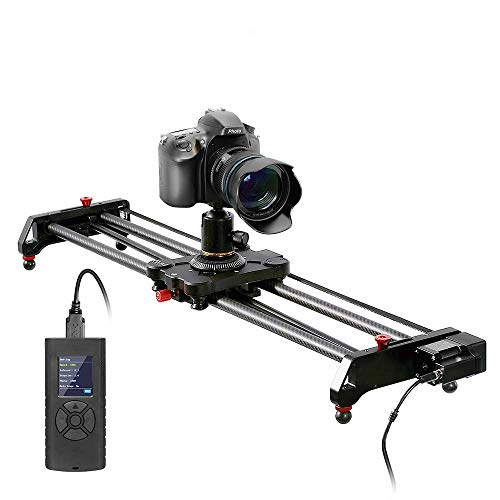 GVM Kamera Slider mit Motor, Motorisierter Kameraschieber aus Kohlefaser, Kameraschiene mit Zeitraffer, Erfassung, Fokus, Parallaxe Fotografie Schiene 80cm