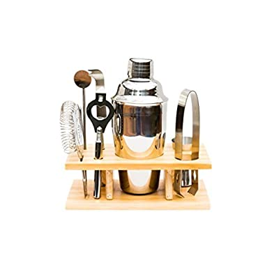 Bar Set - 7 Piece Cocktail Martini Shaker Set with Organizer Stand and Accessories - 550 Milliter 18.5 Ounce Shaker.
