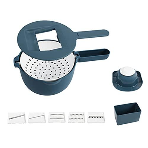 XIGU Cortador de mandolina para verduras, doble drenaje, cortador de utensilios de cocina, rallador, multifuncional y duradero, fácil de limpiar, color azul