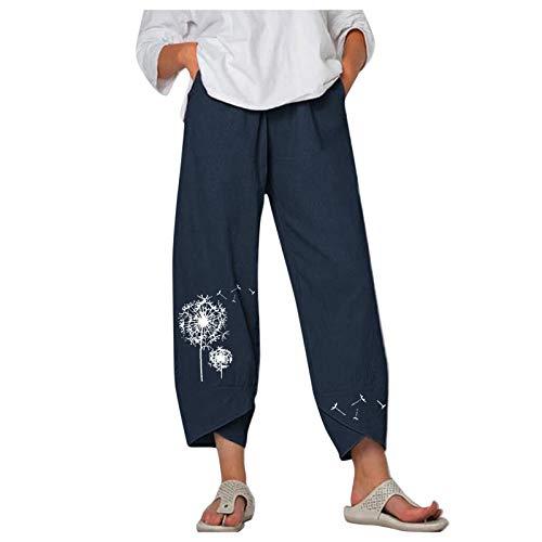 Dasongff Damen Locker Hose Leinenhosen Freizeithose mit Taschen 3/4 Länge Weite Bein Hippie Hose Einfarbiger Blumenmuster Boho Sommerhose Gummibund Haremshose Jogginghose