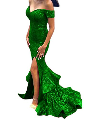 Women's Mermaid Off The Shoulder Sequined Ruffle Split Side Long Prom Dress Evening Party Gown Sweetheart Mermaid Prom Dresses DPM31 Green Size 2