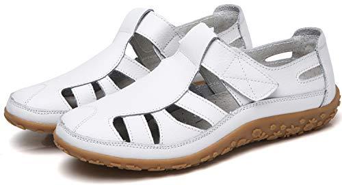 Yooeen Damen-Sandalen aus weichem Leder. Bequeme, flache Schuhe. Rutschfest, geschlossene Zehe. Sommersandalen.