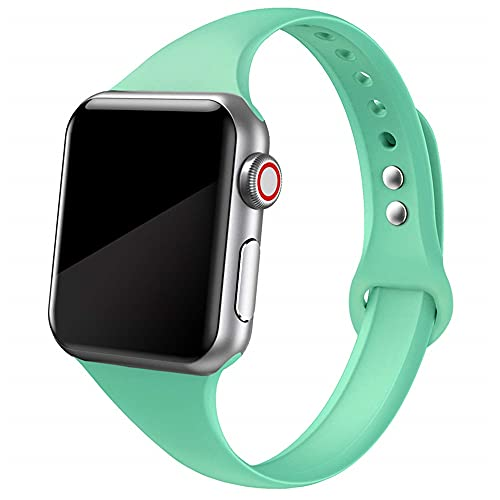 Ternzun Correa delgada para Apple Watch correa de 38 mm 44 mm suave de silicona deportiva wrsit correa pulsera iWatch series 5 4 3 se 6 40 mm 42 mm (38 mm o 40 mm, verde menta 12)