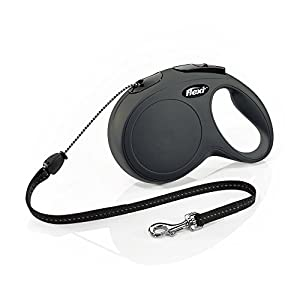 FLEXI New Classic Retractable Dog Leash (Cord), 26 ft, Medium, Black