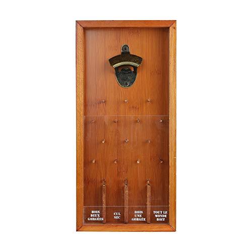 MISTER GADGET MG3144 Rahmen Flaschenöffner Trinkspiel Holz Metall und Kunststoff braun und transparent H39,5 x 18,5 x 3,8 cm