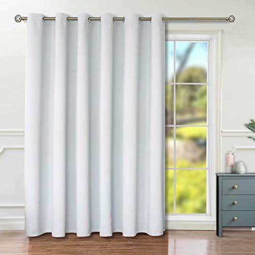 BGment Sichtschutz-Verdunklungsvorhänge für Glasschiebetüren, mit Ösen, wärmeisoliert, Raumteiler, Vorhang für Wohnzimmer, 1 Panel (3 m breit x 2,4 m hoch, grau-weiß)