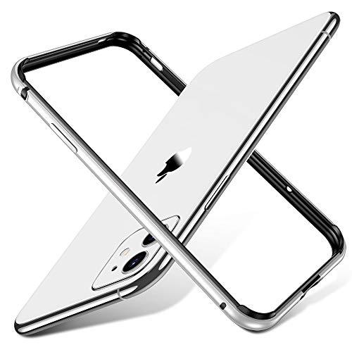 ESR Bumper Hülle kompatibel mit iPhone 11(2019) - Metallrahmen Schutz mit weichem inneren Bumper [Keine Signalstörungen] [Erhöhter Kantenschutz] für iPhone 11(2019) - Silber