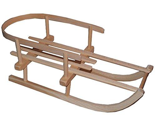 alles-meine.de GmbH Puppenschlitten / Kleiner Schlitten - mit Rückenlehne - aus stabilen Holz - universal passend - Davoser - Davos / Hörnerrodel / Hörnerschlitten - Holzschlitte..