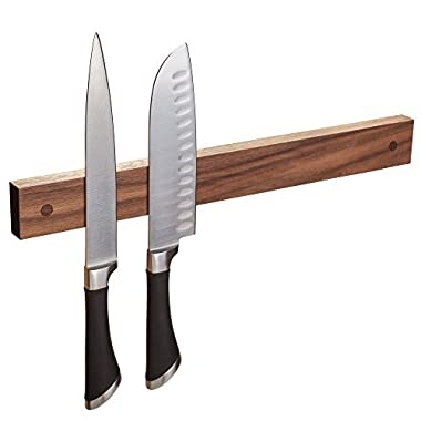 Powerful Magnetic Knife Strip, Solid Wall Mount Wooden Knife Rack, Bar. Unique gift Made in USA (Walnut, 16 )