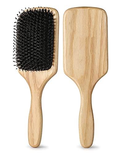 Haarbürste, Antistatische Wildschweinborsten Paddle Haarbürste, Professionelle Bambus Stylingbürste zur Haarentwirrung und Detangling, geeignet für dickes und langes, glattes und lockiges Haar