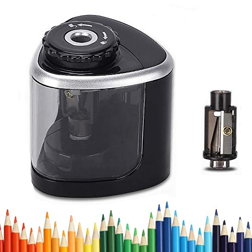 LOBKIN Electric Pencil Sharpeners Battery Operated Automatic Kids Pencil Sharpener for School, Home, Office, Classroom,with 1PC Replacement Blades, Manual and Electric Free to Switch, Anti-Slip, Black