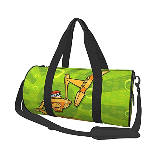 Cartoon Dexter's Lab Round Travel Bag Stylish Sports Gym Duffel Bag Travel Lage Handbag for Men Women.Can be Used for Hiking,Vacation, Busin, Sports,Travel,Beach,Training