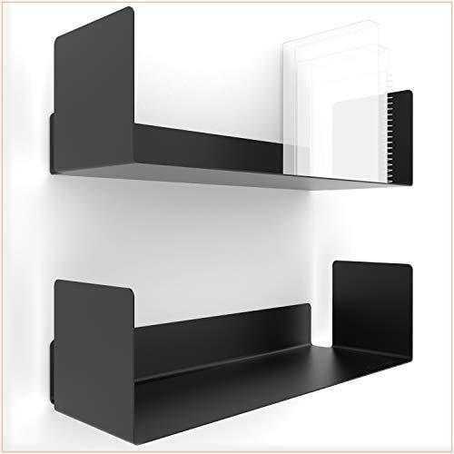 UNITURE® - [2er Set] Wandregal schwarz modernes & Zeitloses Design - Bücherregal mit einfacher Montage - Wandregal 2X 42cm - Regal für Büro & Wohnzimmer