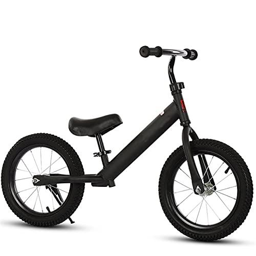 YQCH Bicicleta de Balance de 12 '', con Amortiguador sin pedalear Bicicleta de Entrenamiento para Caminar, neumático de Goma Inflable para niños y niños pequeños (Color : Black)