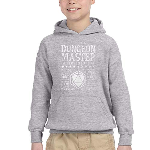 BINGO TWO Children's Hooded Pocket Sweater Dungeon Master, The Weaver of Lore & Fate - Dungeons & Dragons Simple Winter Personality Wild Gray 3T