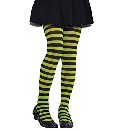 Sancto International Collants à Rayures Enfants néon Vert et Noir Medium (7-10 Years)