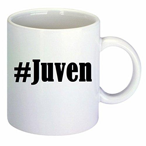 Koffiemok #Juven Hashtag ruit keramiek hoogte 9,5 cm ? 8 cm in wit