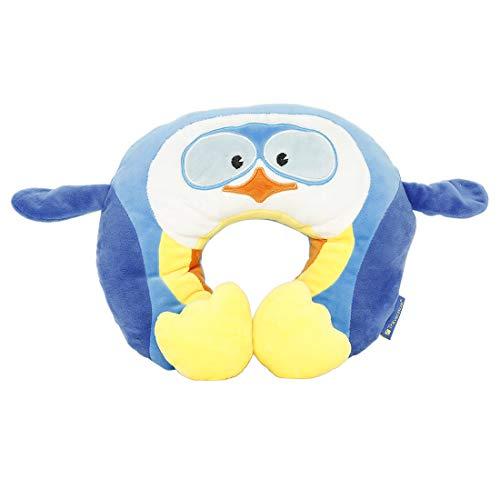 Travel Blue Kinder-Nackenkissen Puffy der Pinguin Reisekissen Flauschiges Reisezubehör bequem & erholsam Reisekissen, 43 cm, Blau