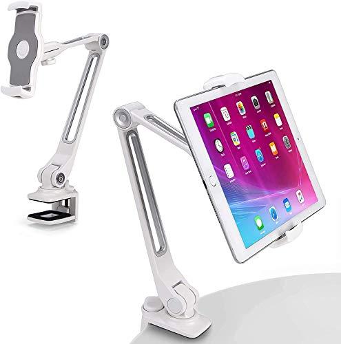 AboveTEK Sturdy iPad Holder, Aluminum Long Arm iPad Tablet Mount, 360