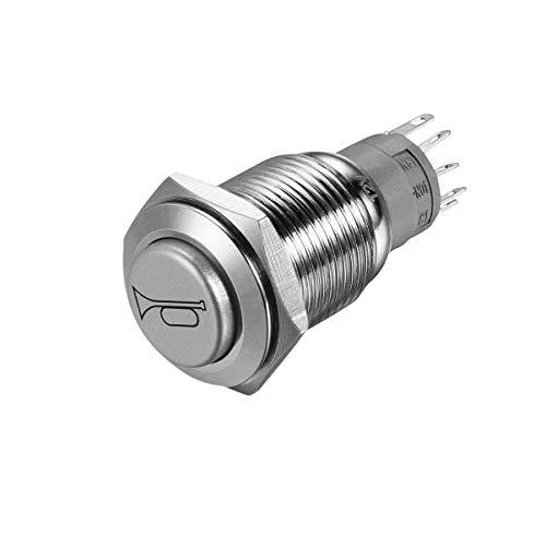 Winomo - Interrupteur à LED de marche/arrêt du klaxon - 12 V - 16 mm - En métal