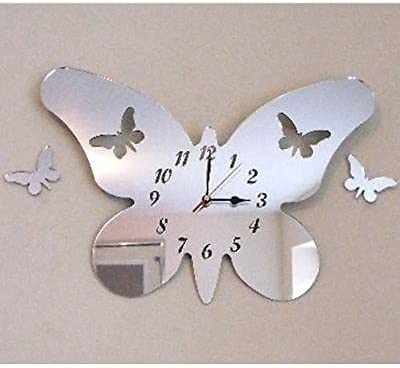 Butterfly Little Wings Mirrored Clock - 30 x 21 cm